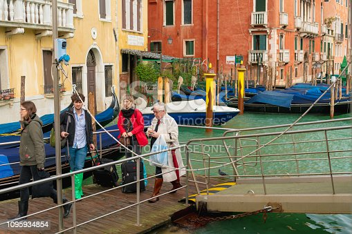 venezia Italy October 29, 2018, the tourists was getting off the boat at gondola pier, Grand canal