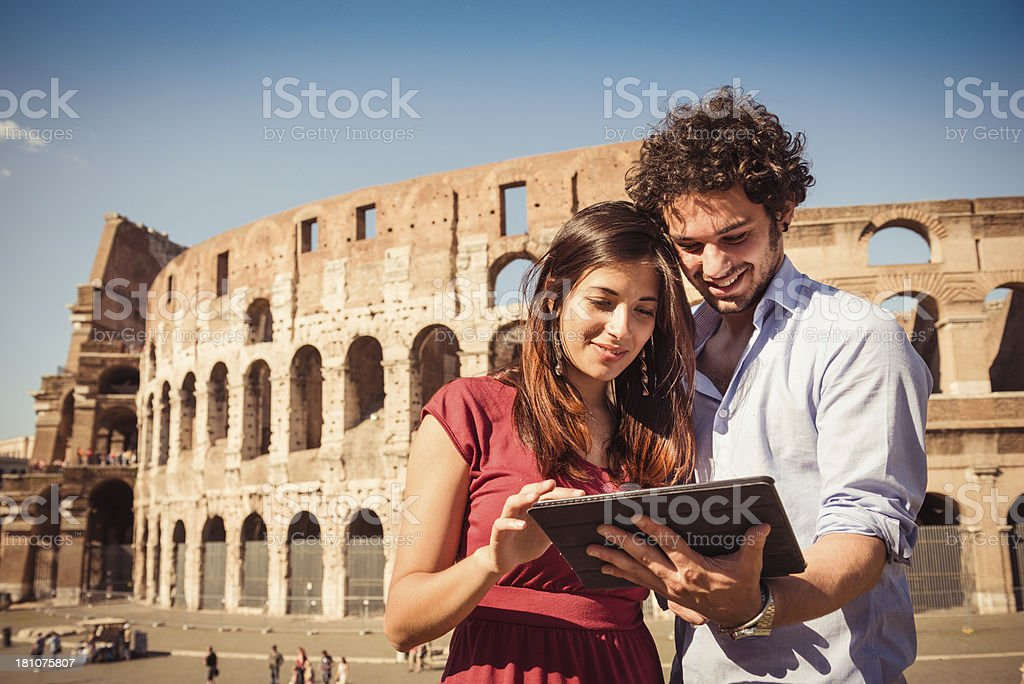 tourist with digital tablet on rome royalty-free stock photo