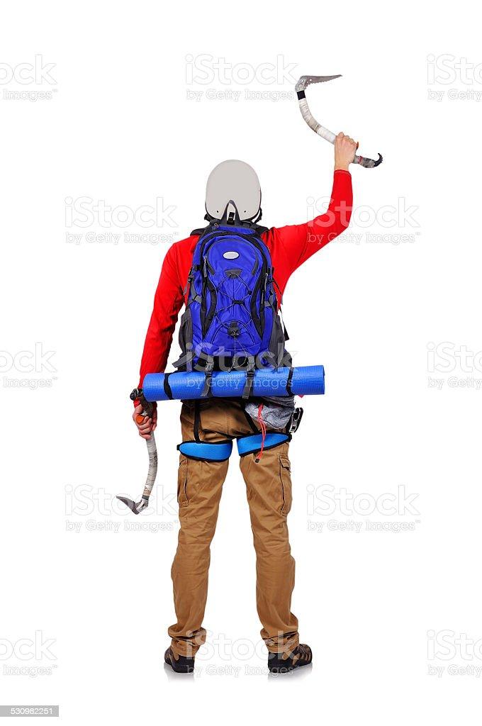 tourist with ice ax stock photo