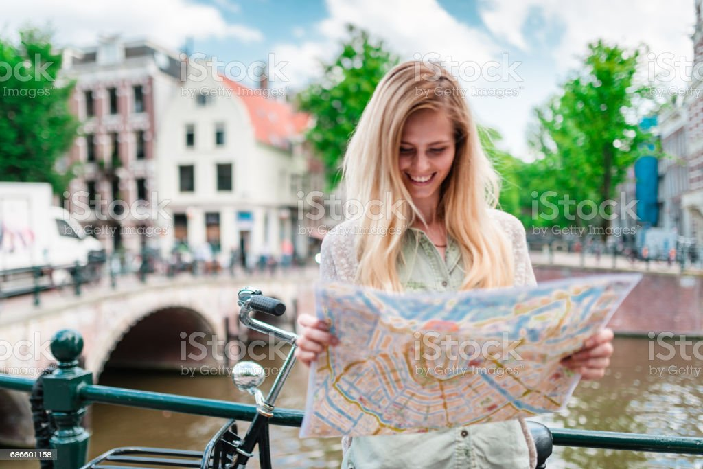 tourist with map in amsterdam royalty-free stock photo