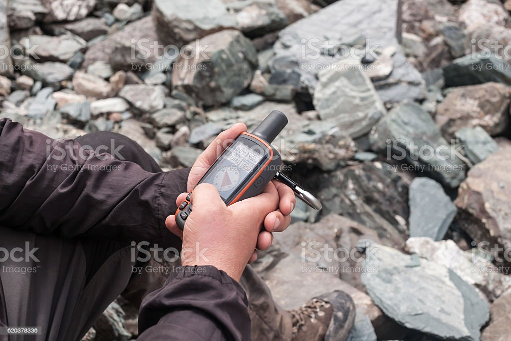 Tourist with navigator. zbiór zdjęć royalty-free