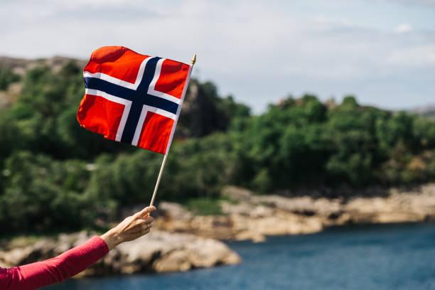 turista con bandera noruega en la costa del mar - noruega fotografías e imágenes de stock
