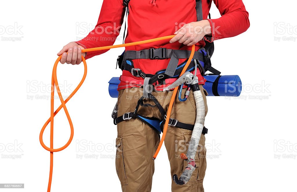tourist with rope stock photo