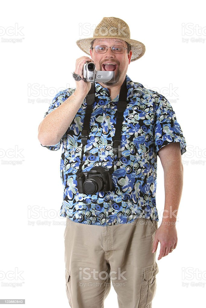 tourist with video camera royalty-free stock photo
