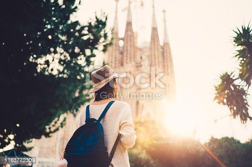 istock Tourist woman exploring Bracelona 1163772309
