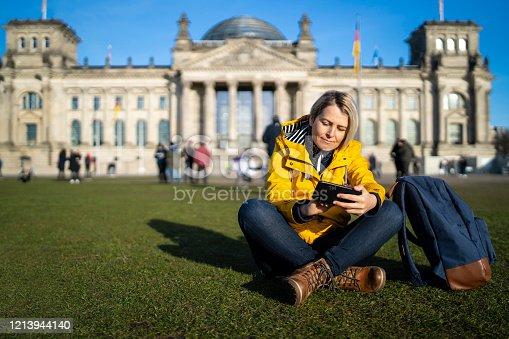istock Tourist woman in Berlin 1213944140