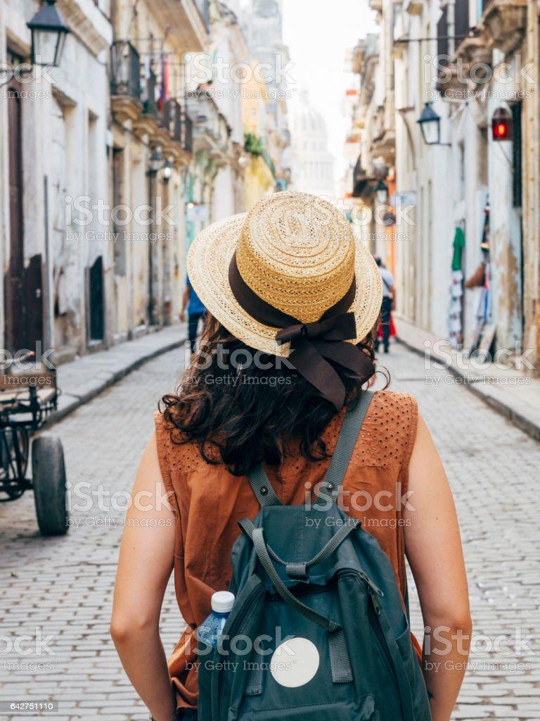 Tourist woman in La Havana city, Cuba stock photo