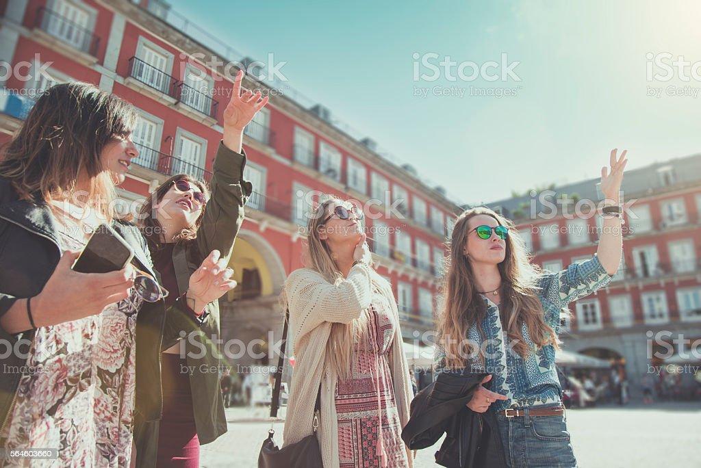 Tourist woman in Plaza Major, Madrid stock photo