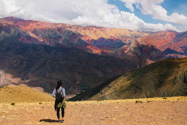 Tourist woman in the mountains of Argentina stock photo