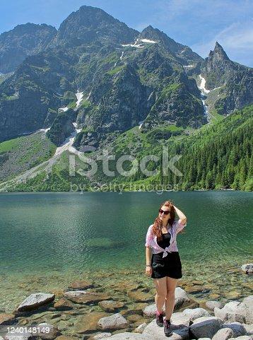 Girl traveles the Tatra National Park, Zakopane, Poland. Carpathian mountains on background.