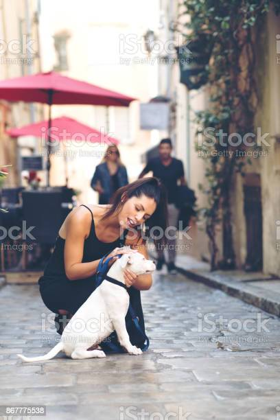 Tourist woman playing with dogin sttropez picture id867775538?b=1&k=6&m=867775538&s=612x612&h=bz878njrrwmv8cfu ktbod8v0zcrclz1jpb vehdajs=