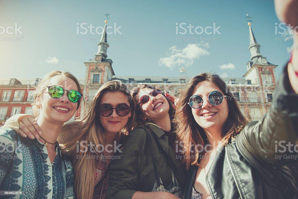 Tourist woman selfie in Plaza Major, Madrid stock photo