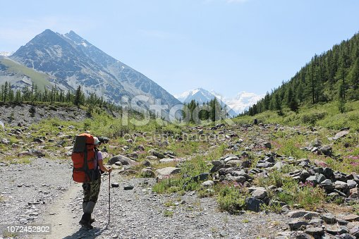 istock Tourist woman standing at the foot of the Belukha Mountain, Altai, Russia 1072452802