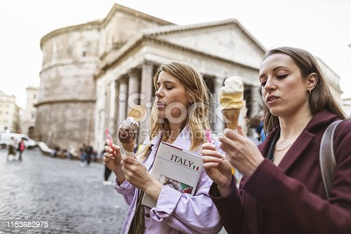 Tourist women in Rome: by the Pantheon