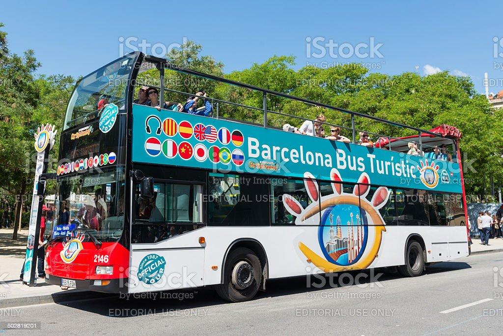 Touristic bus in front of Sagrada Familia. stock photo