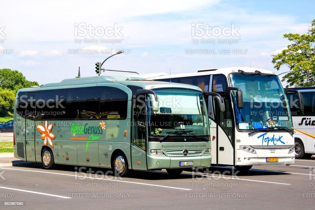 Touristic coaches stock photo