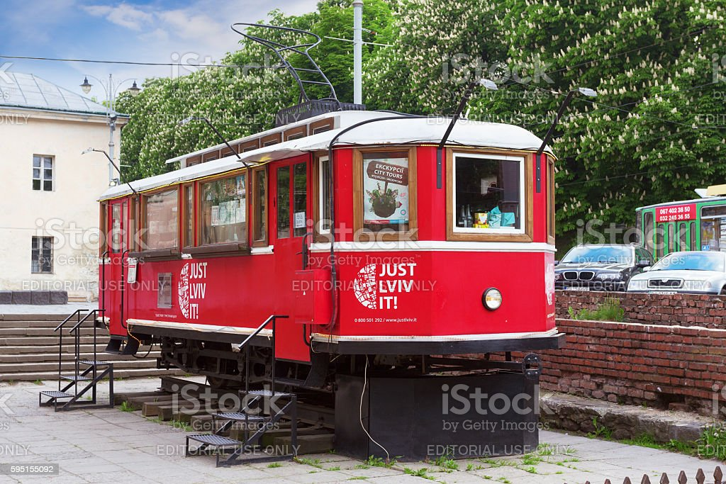 Touristic coffee tram stock photo