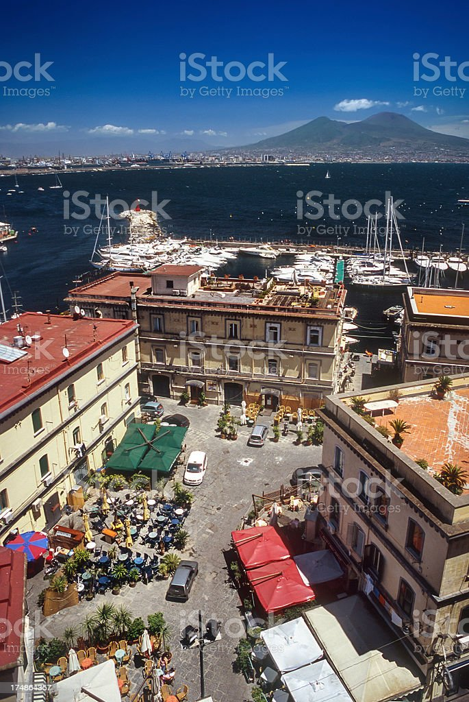 Touristic harbour of Naples and the gulf royalty-free stock photo