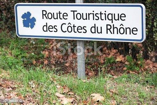 Touristic road of Cote du Rhone roadsign in France