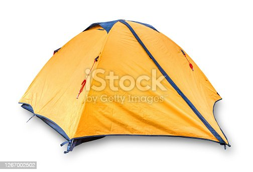 Yellow touristic tent isolated on a white background
