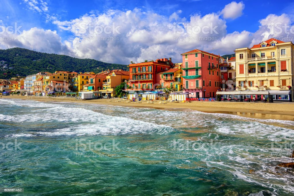 Touristic town Alassio on italian Riviera, Italy stock photo