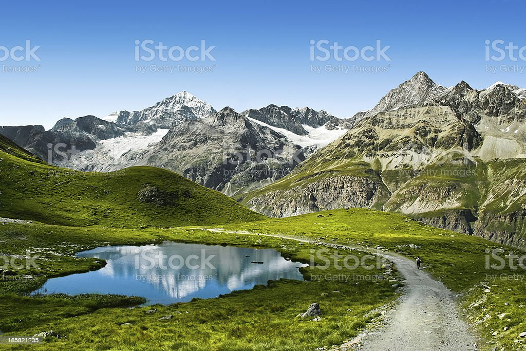 Touristic trail in the Swiss Alps stock photo