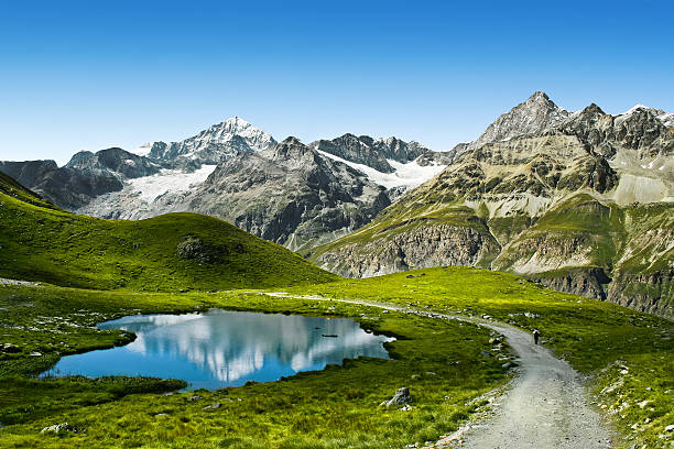Touristic trail in the Swiss Alps Amazing view of touristic trail near the Matterhorn in the Swiss Alps swiss alps stock pictures, royalty-free photos & images