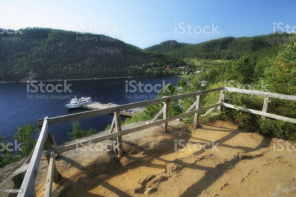 Touristical Ste Rose-du-Nord village and quay stock photo