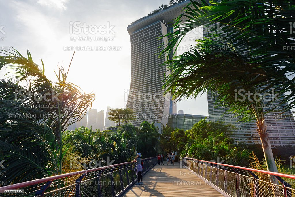 Touristis walking at the Gardens By The Bay park stock photo