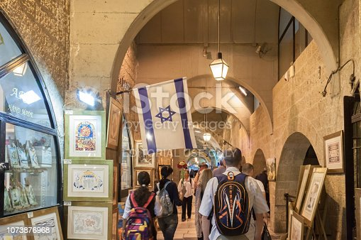 Jerusalem, Israel - October 28, 2014: Guided tour with tourist group in the historical center of Jerusalem picture gallery