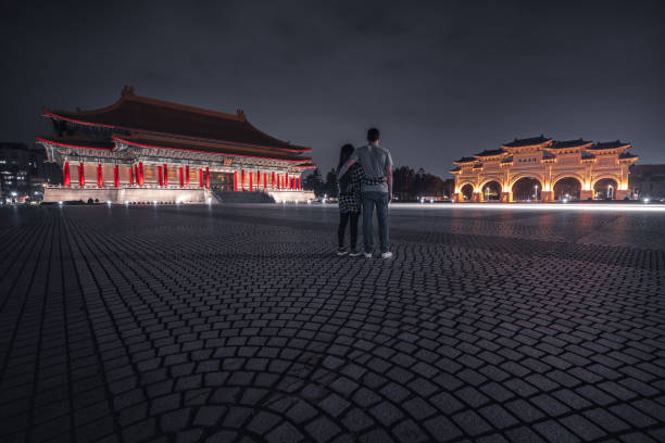 Tourists admire Liberty Square at night. Taipei, Taiwan. stock photo