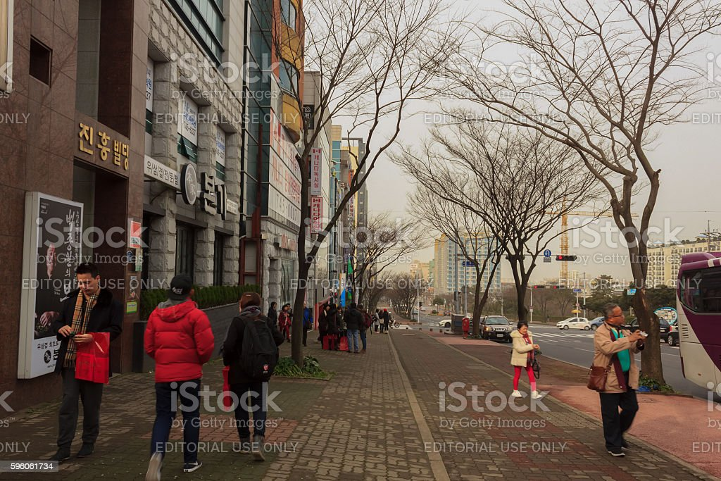 Tourists admire the beauty in city royalty-free stock photo