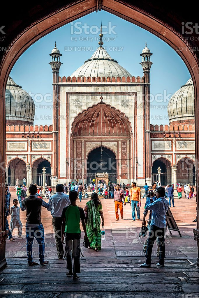 Tourists admirer sites of Jama Masjid in Old Delhi stock photo