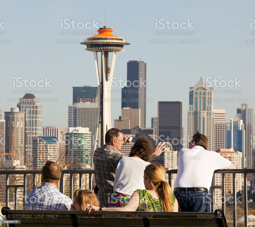Tourists Admiring Seattle Skyline royalty-free stock photo