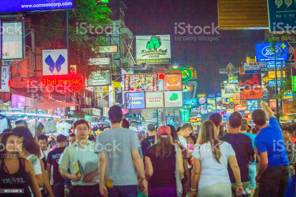 Tourists and backpackers visited at Khao San Road night market. Khao...