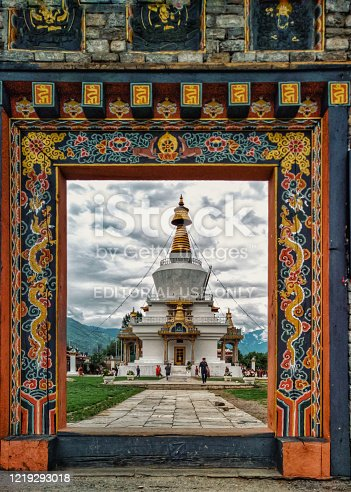 Thimphu, Bhutan - 22nd june 2017 : Tourists and Bhutanese people gather around the National Memorial Chorten located in Thimphu for prayer and blessing