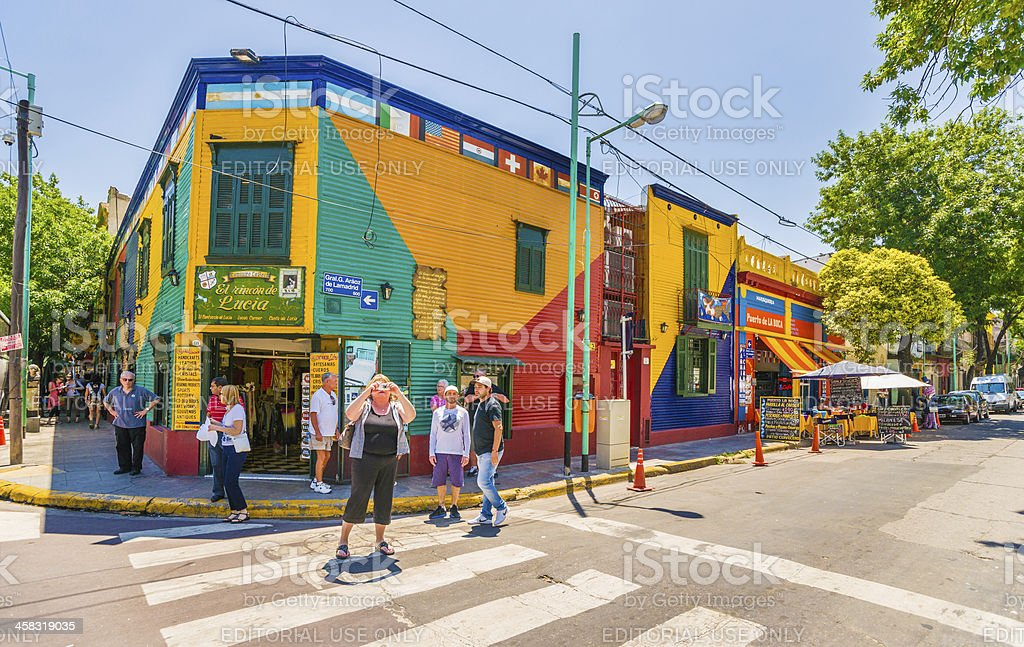 Tourists and Criminals in La Boca, Buenos Aires, Argentina stock photo