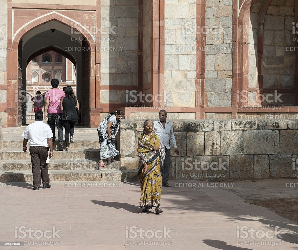 tourists and indian people at humayun's tomb in Delhi royalty-free stock photo