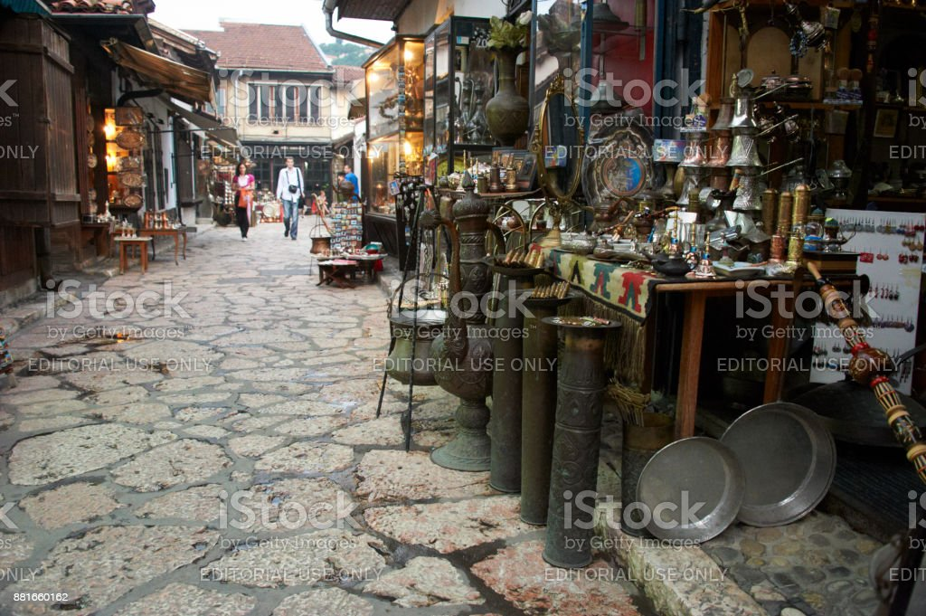 Tourists and locals shopping in old city Bascarsija area stock photo