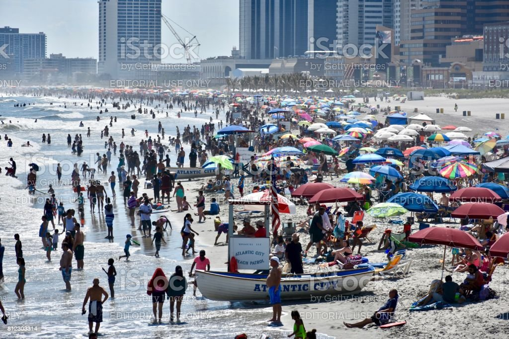 Atlantic City, NJ, USA - July 02, 2017: Tourists and vacationers enjoying the beautiful weather at Atlantic City on the busy 4th of July weekend. stock photo