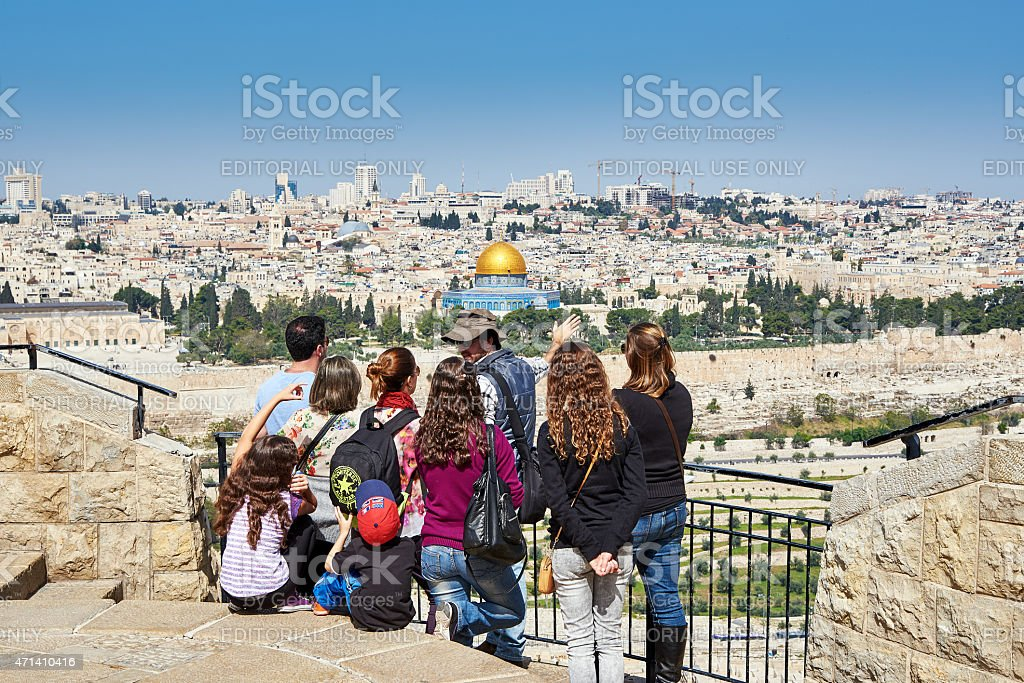 Tourists are looking at the beautiful view of Jerusalem stock photo