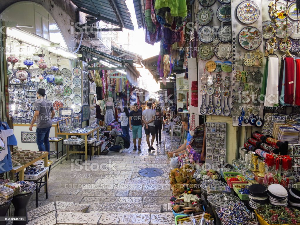Tourists Are Shopping At The Jerusalem Old City Arab Market Bazaar Stock  Photo - Download Image Now