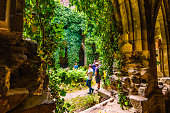 Dolni Kounice, Czech Republic - 6.7.2020: Tourists are visiting the Rosa Coeli monastery. Old ruined woman monastery is built in gothic style.