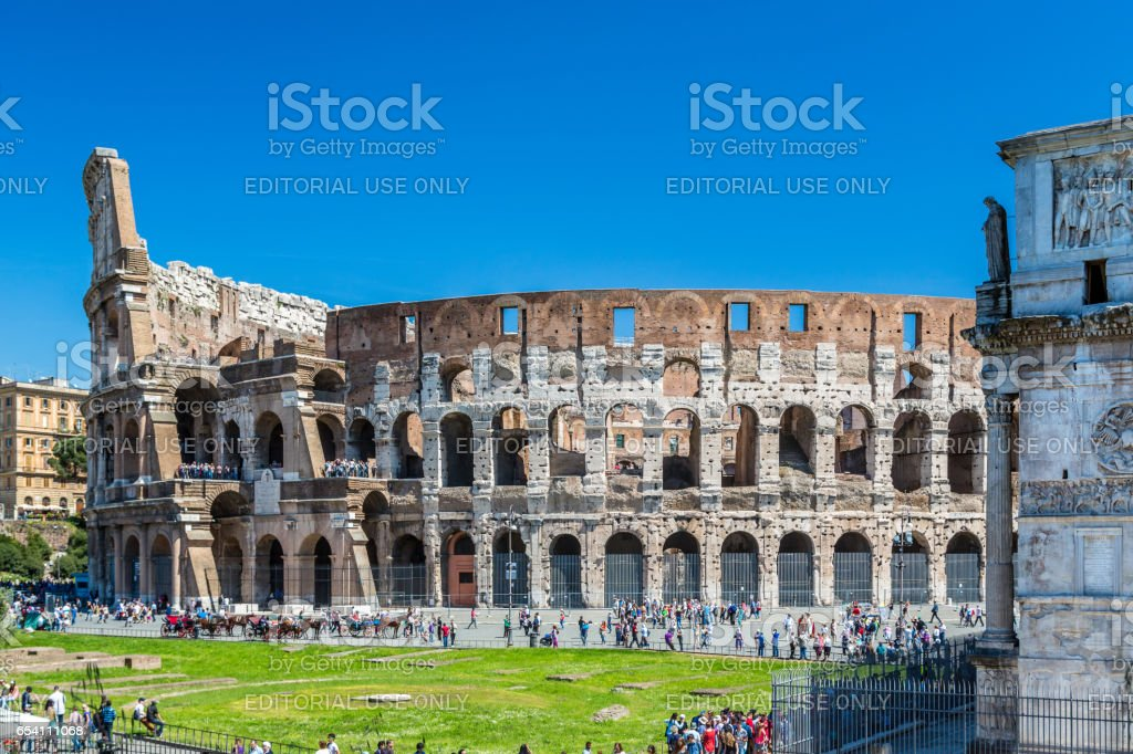 Tourists around Colosseum in Rome. royalty-free stock photo