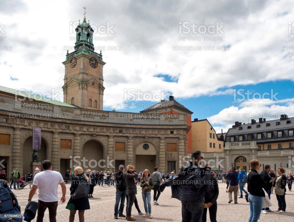 Tourists around the Royal Palace, Stockholm stock photo