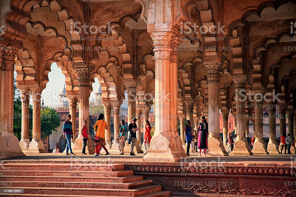 Tourists at Agra Fort. India stock photo