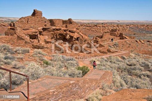 Tourists at Wupatki ruins in Arizona