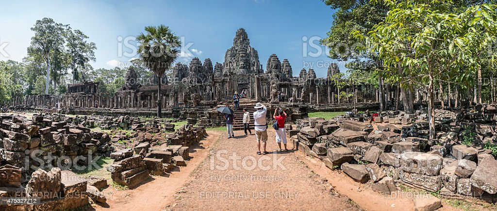 Tourists at Ankor Wat Temple stock photo