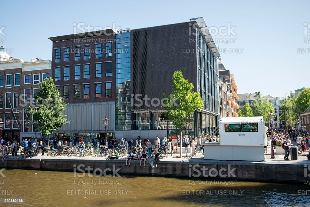 Tourists at Anne Frank House in Amsterdam, Holland stock photo
