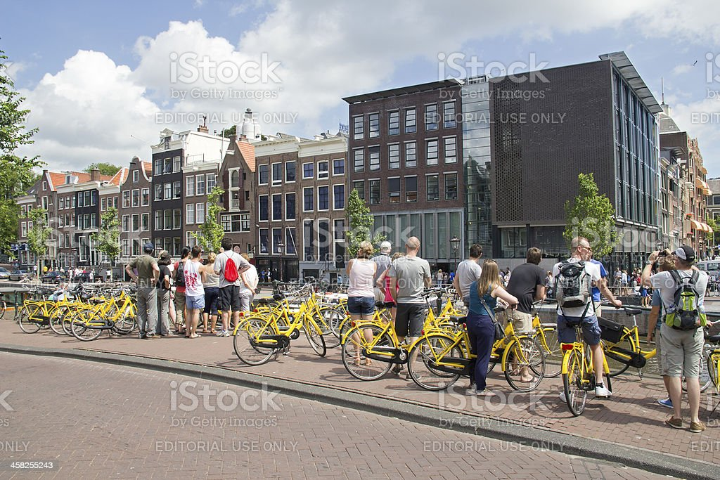 Tourists at Anne Frank House in Amsterdam stock photo